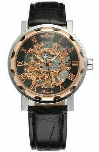 relógio masculino esqueleto cromado preto fundo preto winner