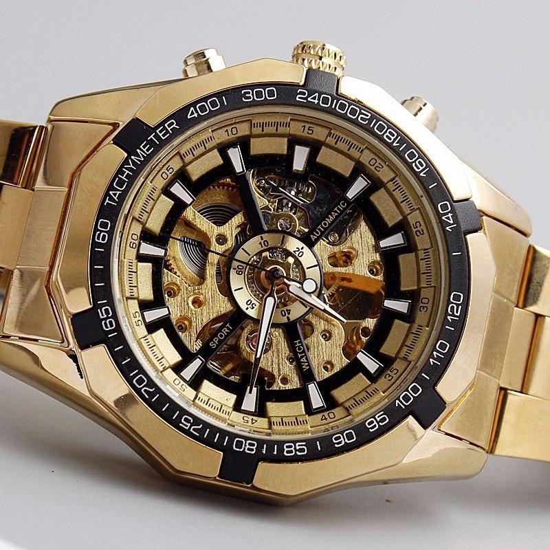 bc37eba58b2 relógio masculino esqueleto mecânico automático de ouro. Carregando zoom.