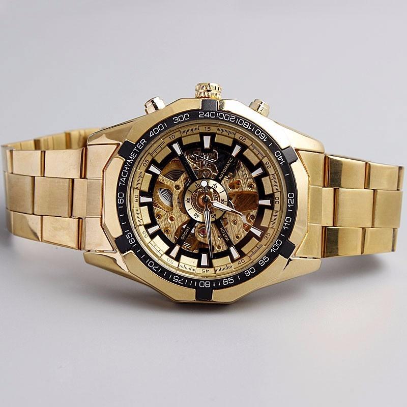 e9d5db14f84 relógio masculino esqueleto mecânico automático de ouro. Carregando zoom.