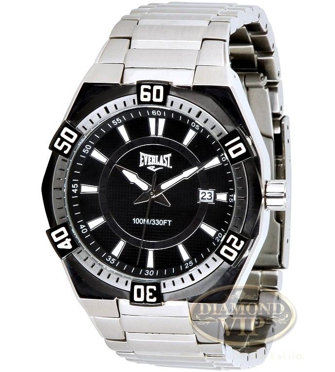 45b70d59b56 Relógio Masculino Everlast Esportivo Prova Dagua Prata Preto - R ...