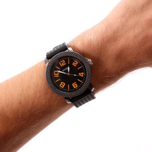 relógio masculino exato preto barato laranja borracha novo