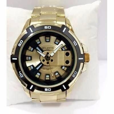 5afaaa43e41 Relógio Masculino Exclusive Atlantis Original Dourado + Caix - R  88 ...