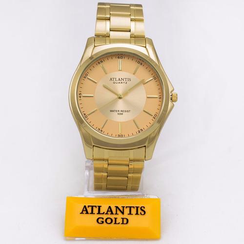 relogio masculino exclusive atlantis original dourado caixa