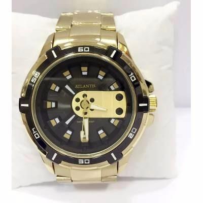 relógio masculino exclusive atlantis original dourado caixa