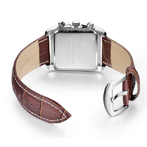 relógio masculino executivo luxo + bracelete de couro marrom