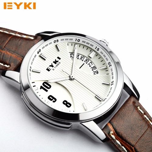 relogio masculino eyki movimento quartzo pulseira de couro