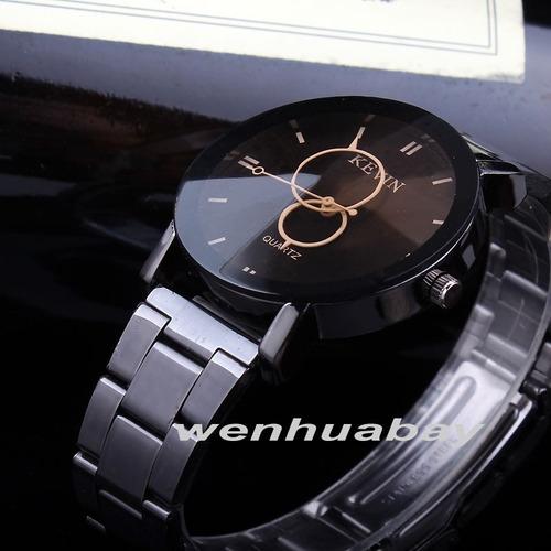relógio masculino feminino kevin aço cromado preto barato
