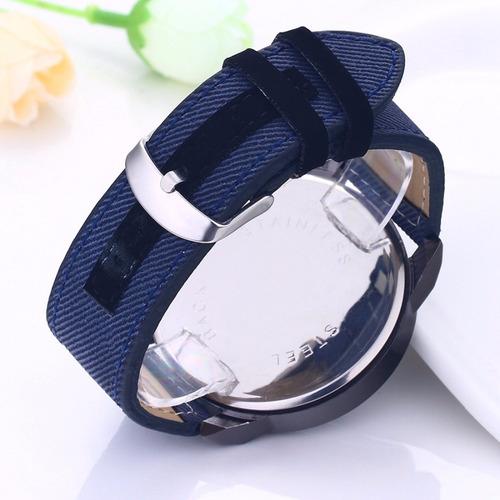 relogio masculino feminino pulseira lona azul jeans ad1225