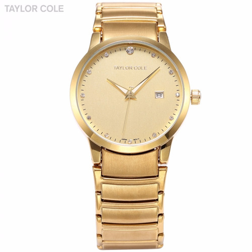 relogio masculino feminino taylor luxo cristal dourad bd1235