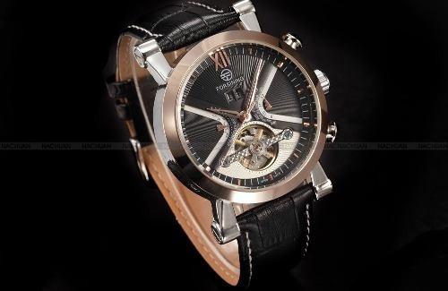 relogio masculino forsining luxo black golden bd1022