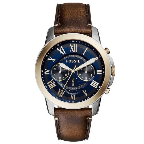 relógio masculino fossil blue dial fs5150/5an 44mm couro