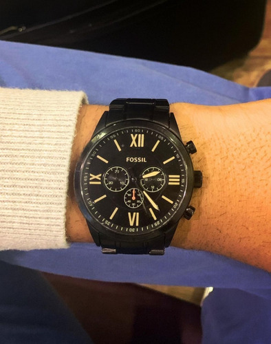 relógio masculino fossil original em aço preto