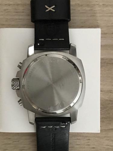 relógio masculino fossil, pulseira em couro, caixa em inox
