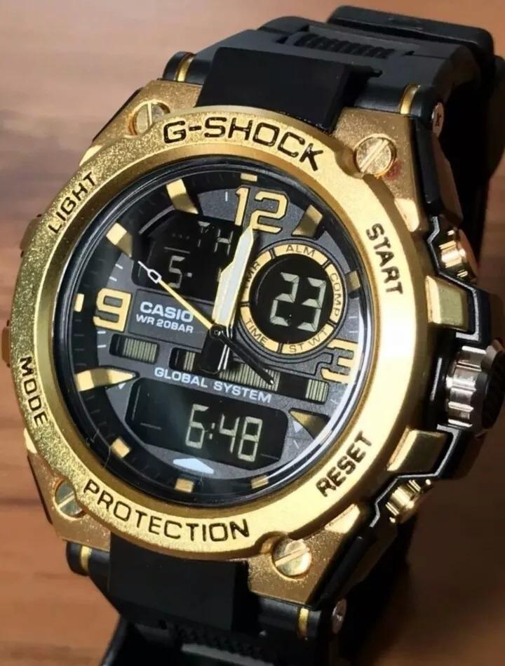 d9b6303b52882 Relógio Masculino G-shock Militar Aço Inox.dourado - R  129,00 em Mercado  Livre
