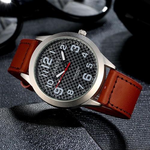 relógio masculino gaiety g001 militar pulseira de couro
