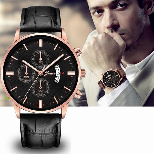 relógio masculino geneva sintético com calendário funcional