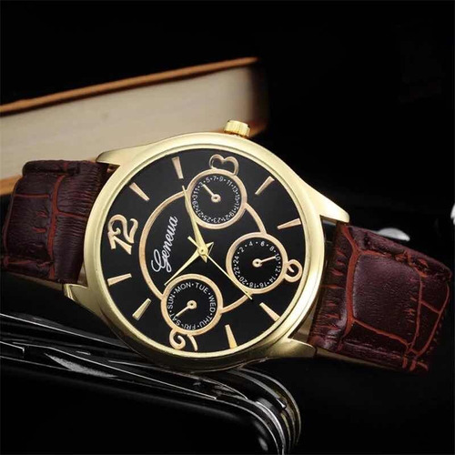 relógio masculino geneva social pulseira couro luxo marrom