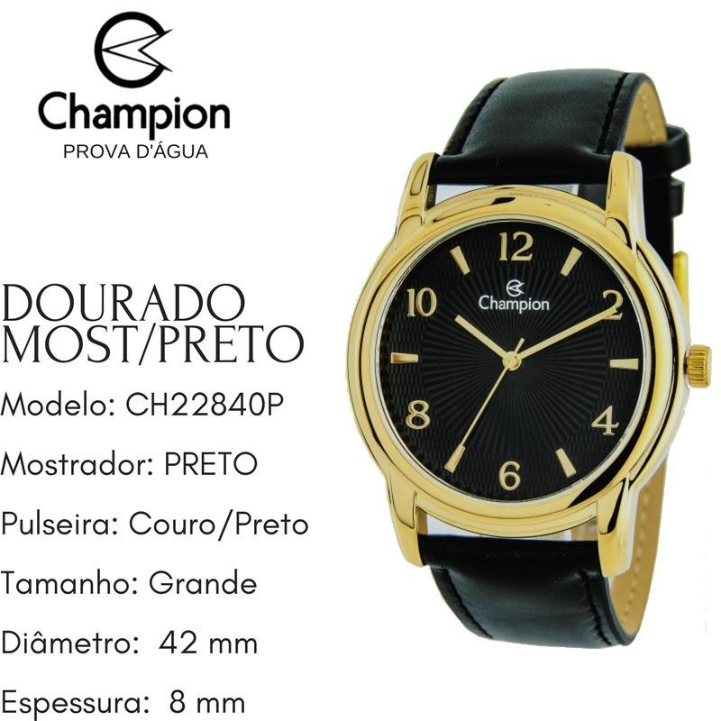 8f433ebc91f relógio masculino grande dourado couro prova d água ch22840p. Carregando  zoom.