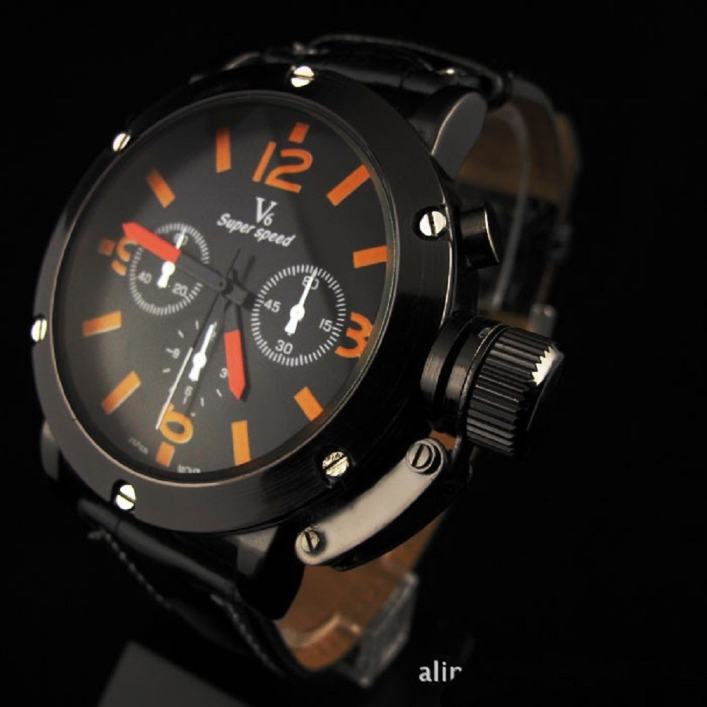 c49c3827a37 relógio masculino grande esportivo analógico v6 couro e aço. Carregando zoom .