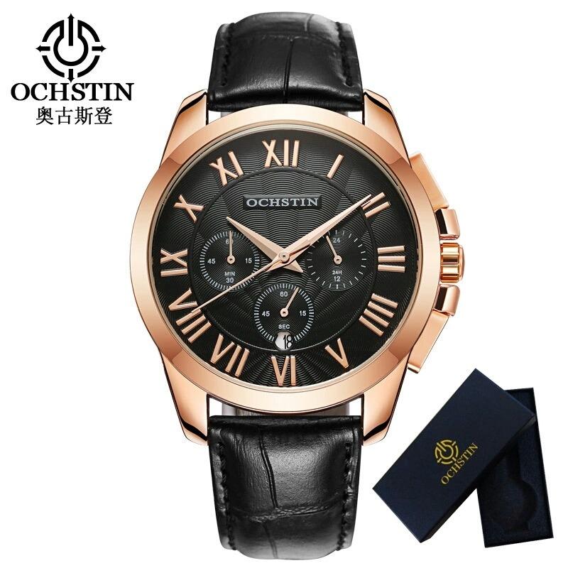 37e6f3a77d0 relógio masculino grande luxo ochistin dourado couro preto. Carregando zoom.