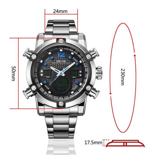 relógio masculino grande weide em aço a prova d´água