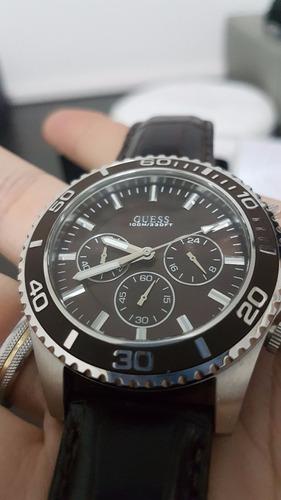 relógio masculino guess 92487g0gsnc4 marrom - pulseira couro