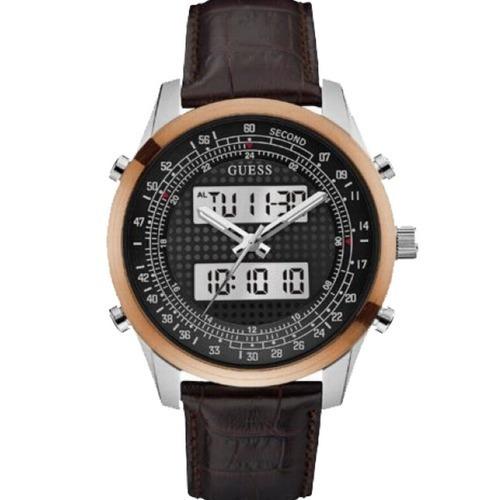 relógio masculino guess anadigi pulseira couro 92620g0gtnc2