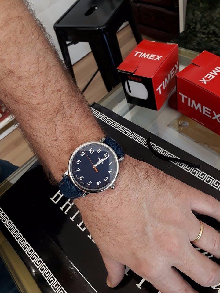 464779e2efc relógio masculino heritage pulseira couro e jeans timex. Carregando zoom.