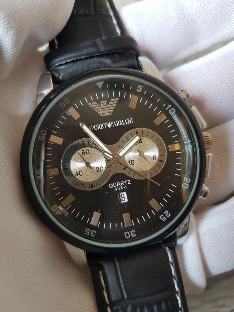 d23e66fb24d relógio masculino homens de luxo emporio armani preto couro. Carregando zoom .