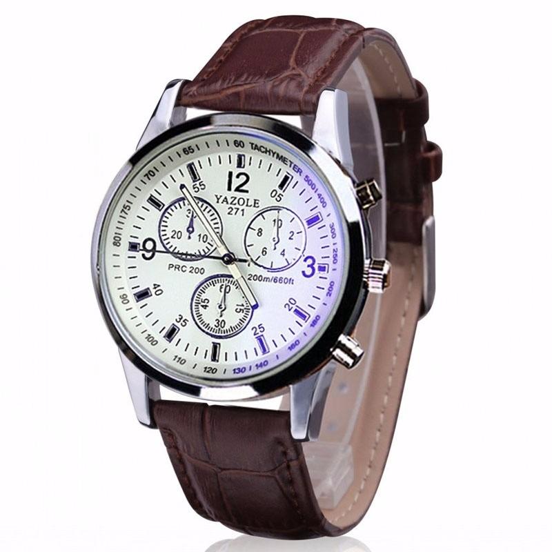 2ee9f7a3a70 relógio masculino importado boa qualidade marrom e branco. Carregando zoom.