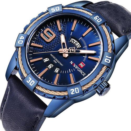 relógio masculino importado couro naviforce 9117 original