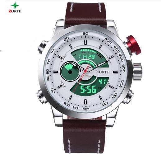 3f220e7eb17 Relógio Masculino Importado Digital analógico Pulseira Couro - R  114