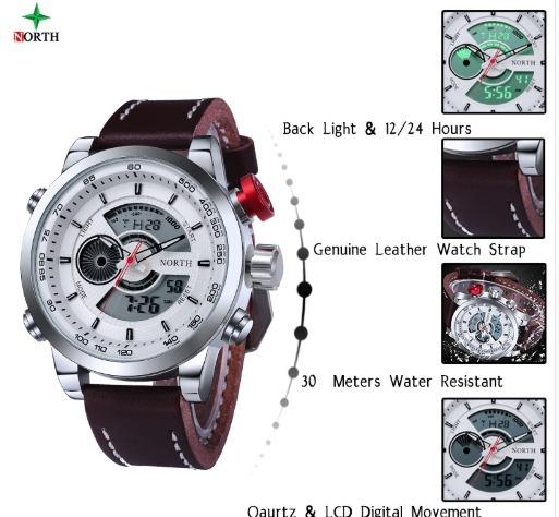 0fdcae2f3b6 Relógio Masculino Importado Digital analógico Pulseira Couro - R ...