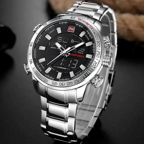 relógio masculino importado naviforce prata 9093 promoção