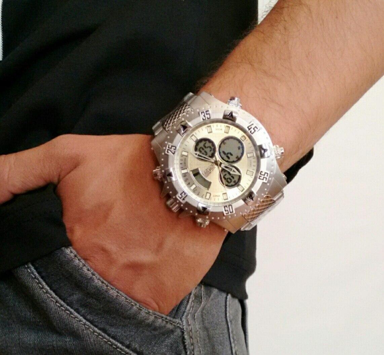 f55e5bd4279 Relógio masculino invicta cromado dual time barato carregando zoom jpg  1142x1054 Invicta dual time