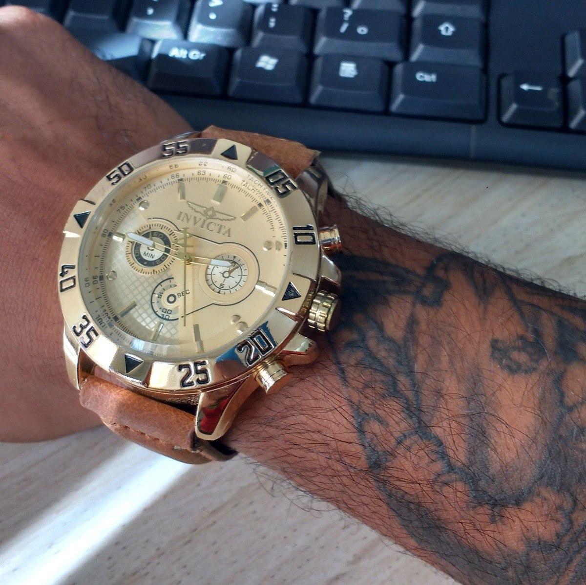 029d3346d77 relógio masculino invicta pulseira de couro promoção. Carregando zoom.
