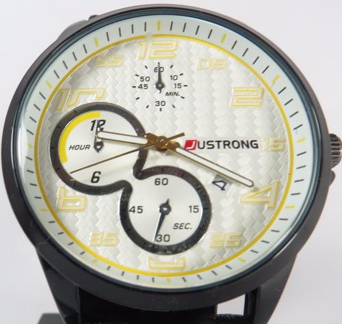 relógio masculino justrong pulso no:168003 preto e amarelo