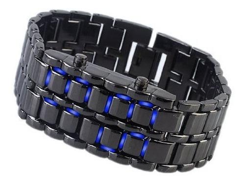 relógio masculino led iron samurai pulseira lava pulseira