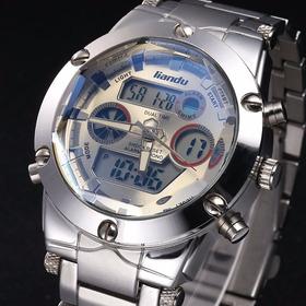Relogio Masculino Liandu Dual Time Chronograph Silver/white