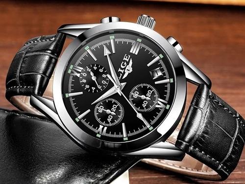 relogio masculino lige 9839 original couro cronometro data