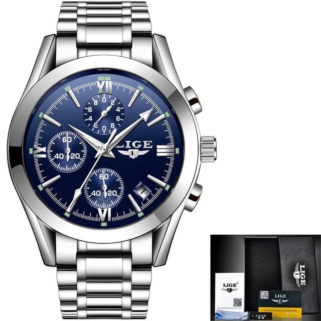0c352dde8a0 Relógio Masculino Lige 9839 Prova D água+ Pulseira De Pedras - R  58 ...