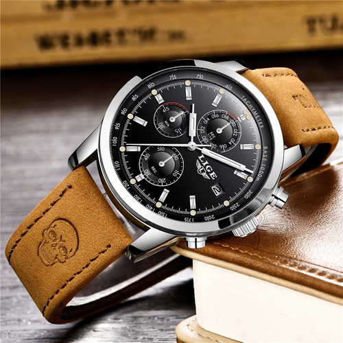 relógio masculino lige 9859 couro calendário cronômetro