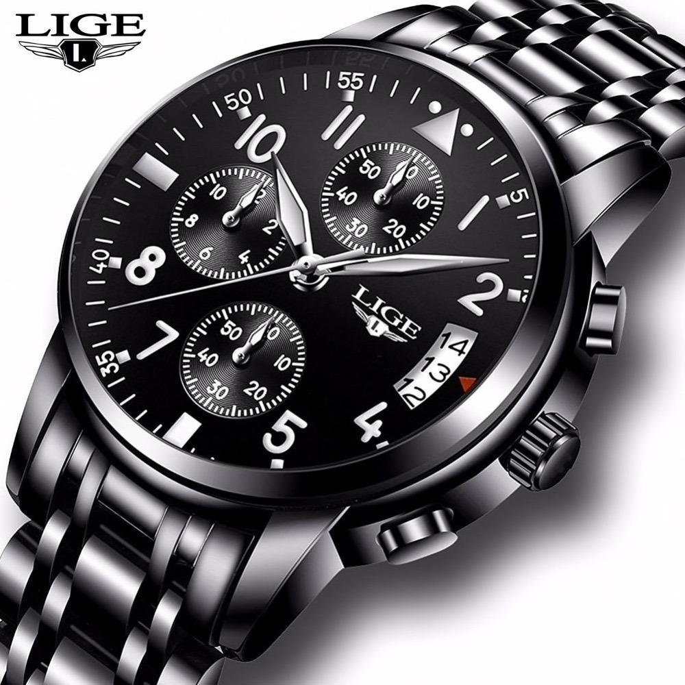 67bb762b1bd relógio masculino lige dourado preto prata original luxo. Carregando zoom.