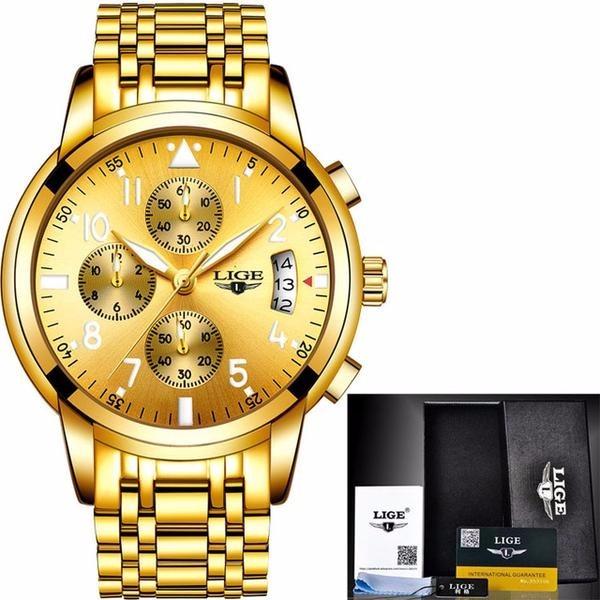 62beaf75a52 Relógio Masculino Lige Marca De Luxo Ouro