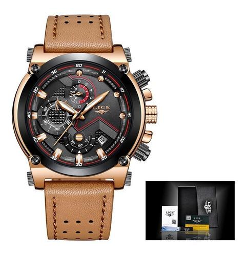relógio masculino lige original couro pronta entrega