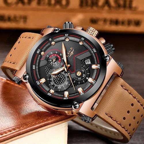 relógio masculino lige original couro pronta entrega com nf