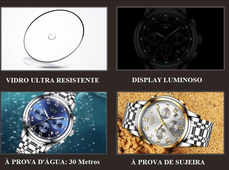 fed8ab418 Relógio Masculino Lige Original Promoção-frete Grátis+brinde - R ...