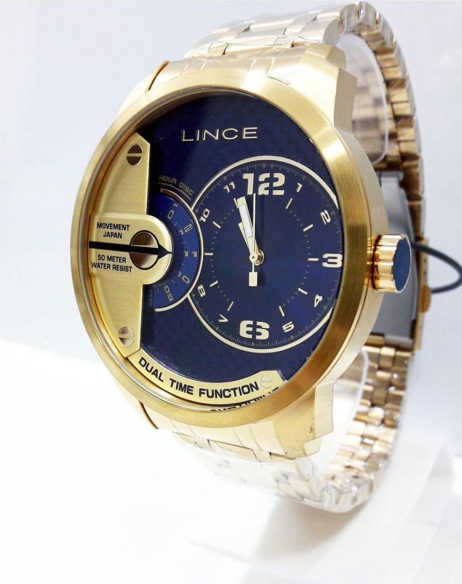 ab2e64b1019 relógio masculino lince dual time dourado mrgh049s. Carregando zoom.