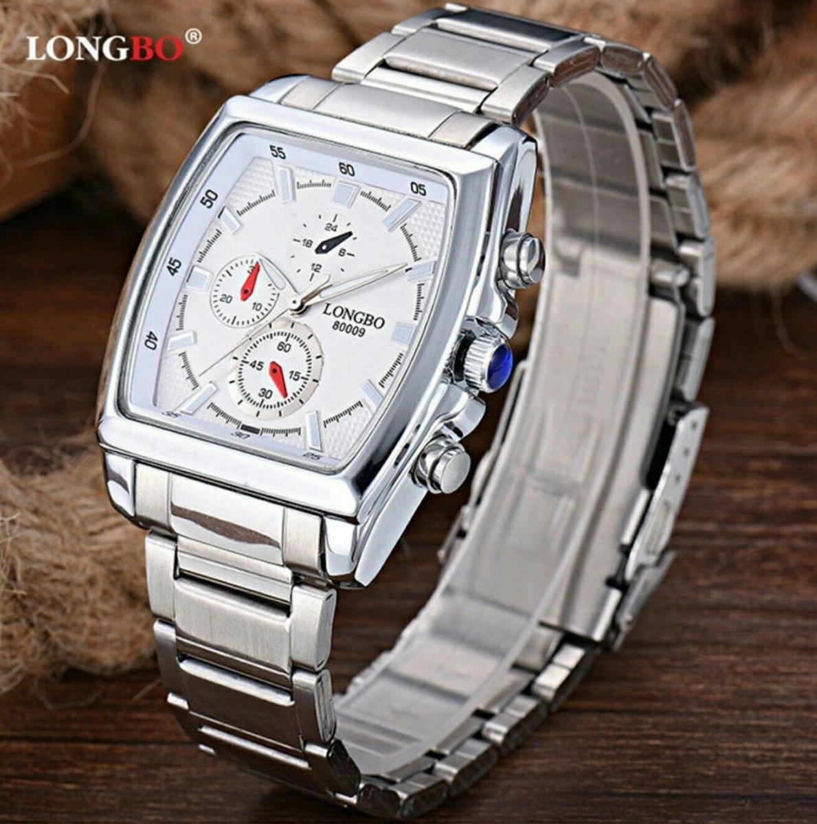 2842555fc4f relógio masculino longbo aço inox quadrado promoção quartzo. Carregando zoom .