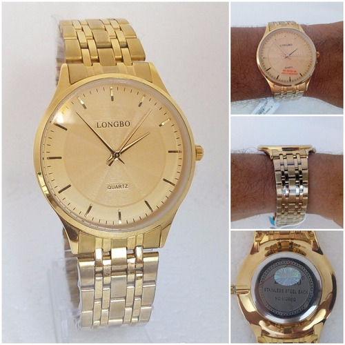 relógio masculino longbo original dourado ultra fino vip